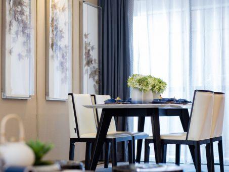 餐厅白色餐桌新中式风格装饰设计图片