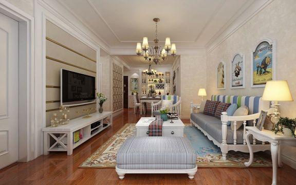 欧式田园风格90平米两室两厅新房装修效果图