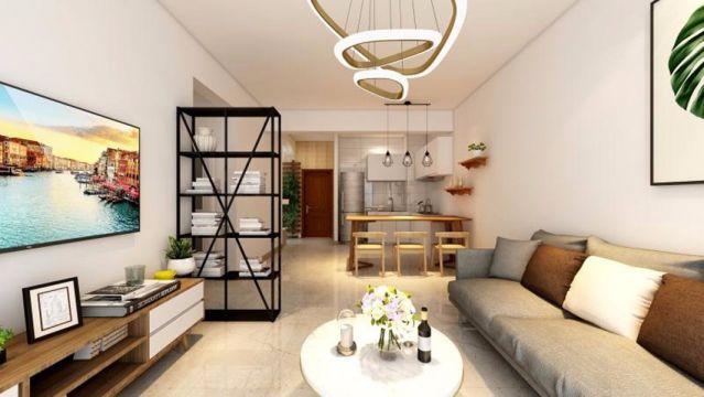 70平暖色系简欧风格3房2厅1卫小三居老房装修效果图