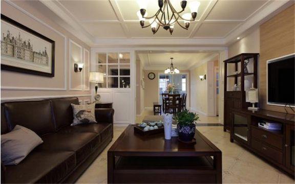 130平米三居室简美风格装修效果图