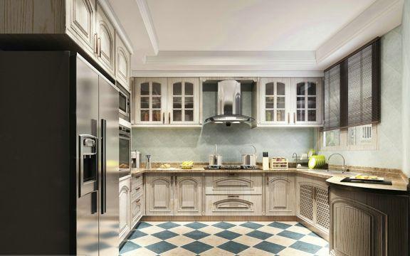 厨房米色厨房岛台美式风格装潢图片