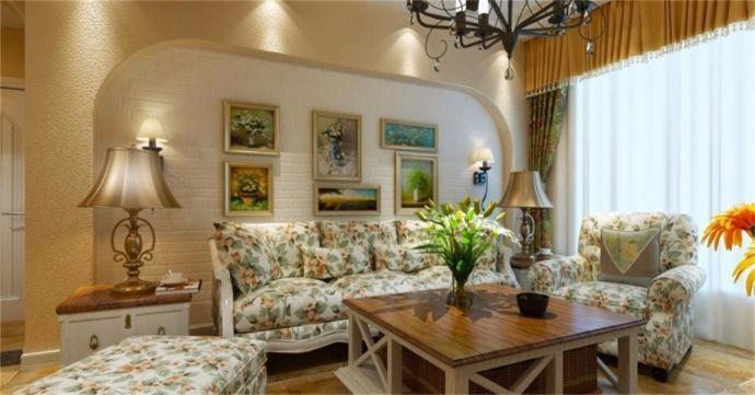 田园风格114平米三室两厅新房装修效果图