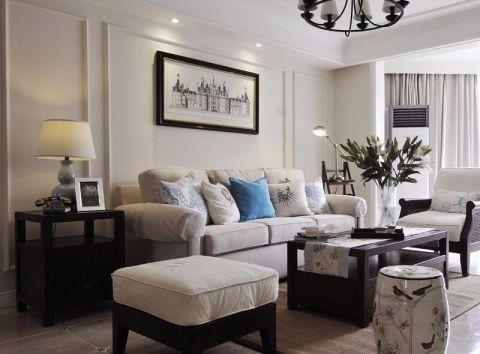 美式风格124平米三室两厅新房装修效果图