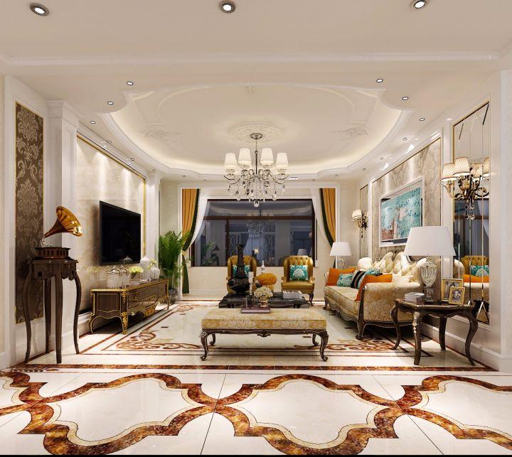 欧式风格170平米三室两厅新房装修效果图