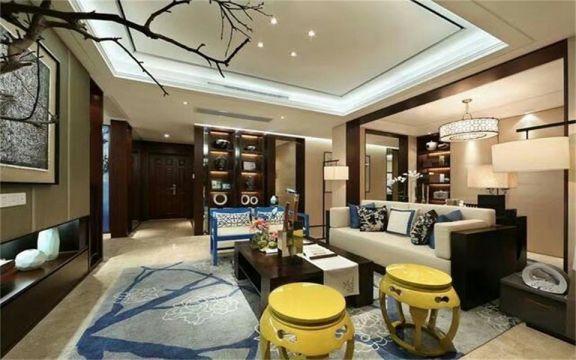 136平米新中式三居室装修效果图