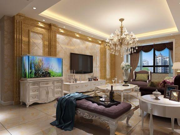 简欧风格102平米三室两厅新房装修效果图