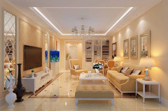 简欧风格113平米三室两厅新房装修效果图