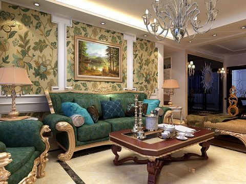 118平美式风格两居室装修效果图