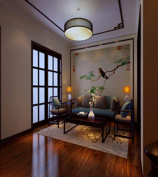 中式风格70平米楼房室内装修效果图