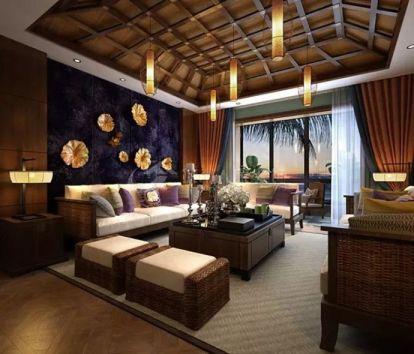 东南亚风格120平米两室两厅新房装修效果图