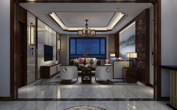 中式风格191平米三室两厅新房装修效果图