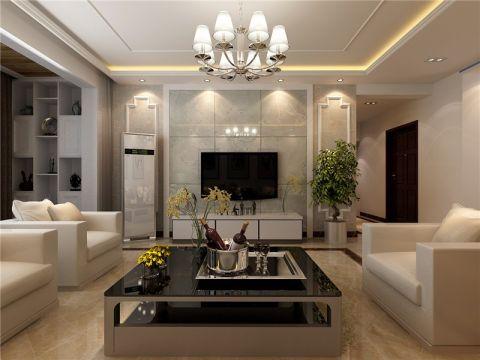 现代简约风格125平米三室两厅新房装修效果图
