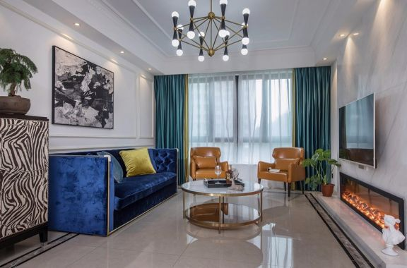 美式风格145平米三室两厅新房装修效果图