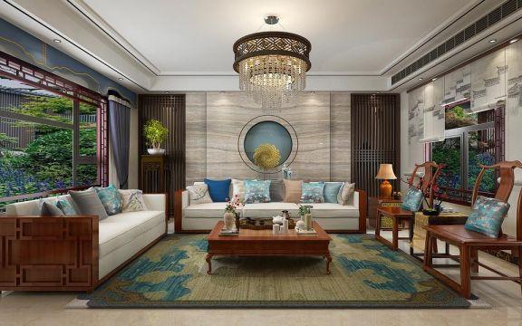 新中式风格260平米别墅室内装修效果图