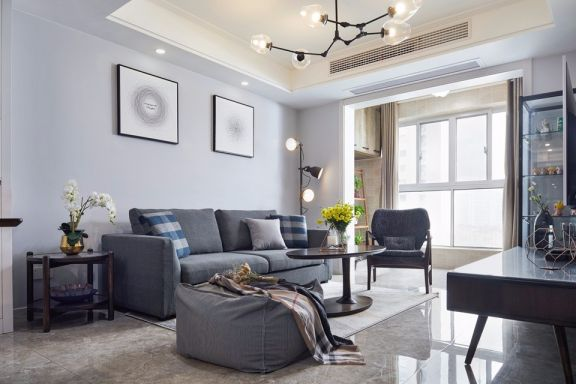孔雀城110平现代简约风格三居室装修效果图