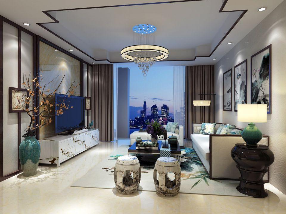 110平现代简约新中式三居室效果图