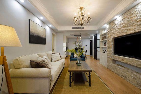美式风格96平米三室两厅新房装修效果图