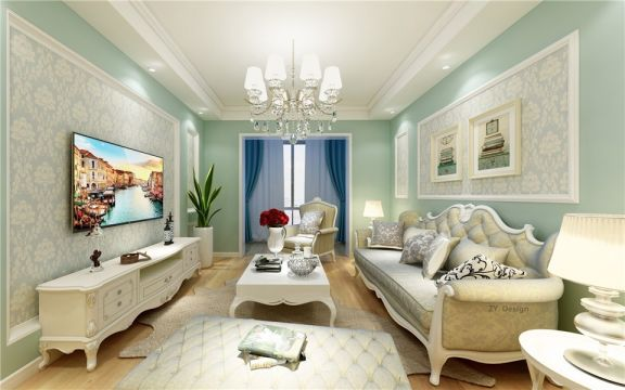 90平清新式简欧风格三居室效果图
