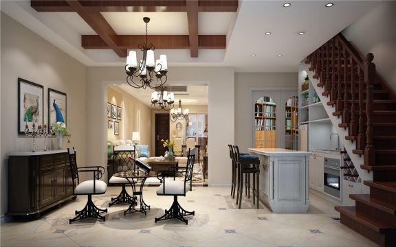 170平现代美式复式楼四居室装修效果图
