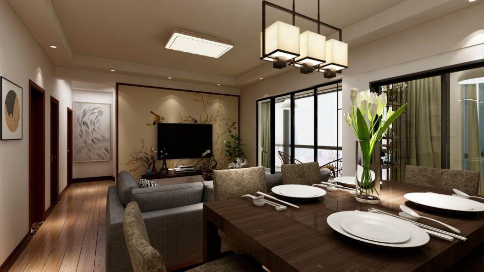 170平现代中式风三居室装修效果图