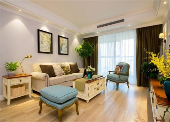 98平米美式风格三居室装修效果图