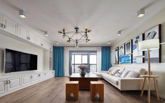 西桥花苑80平方混搭风格二居室装修效果图