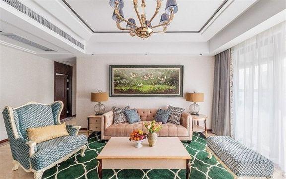 130平米三居室美式混搭风格装修效果图