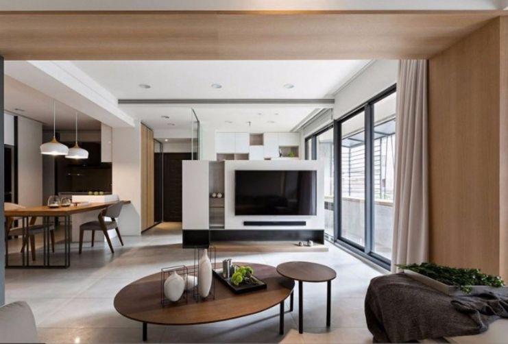 100平现代风格二居室效果图
