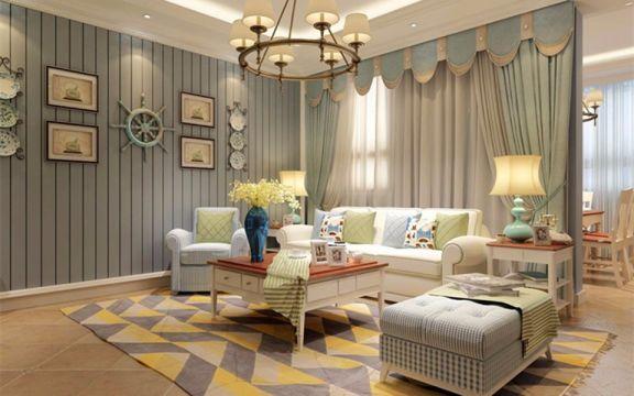 地中海风格127平米三室两厅新房装修效果图