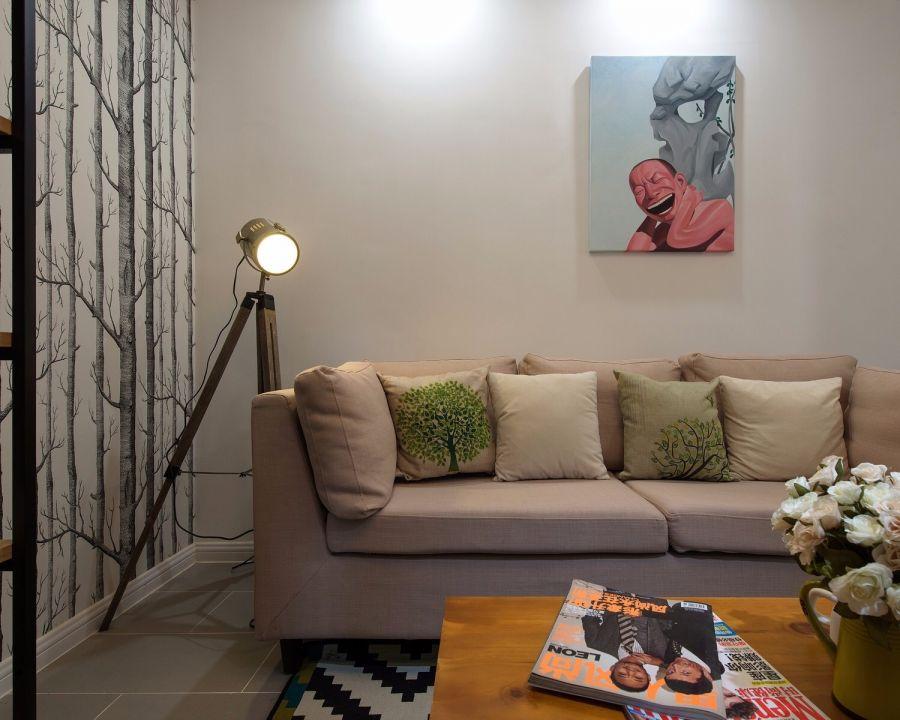 现代简约风格56平米两居室室内装修效果图