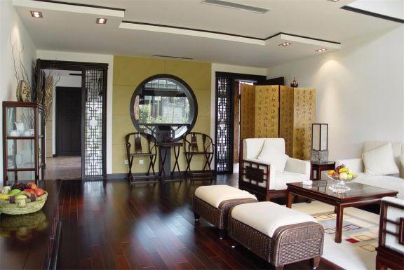 110平中式风格三居室效果图