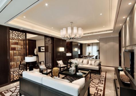180平新中式三居室装修效果图