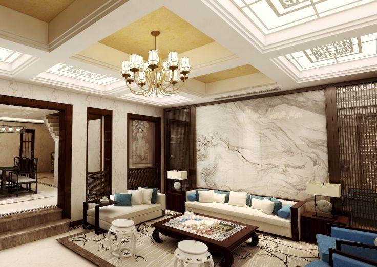 新中式风格296平米别墅室内装修效果图