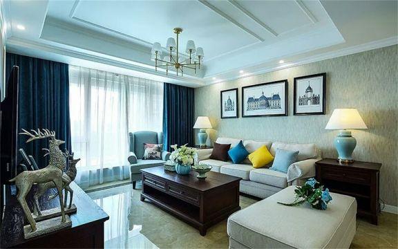 128平米美式混搭风格三居室装修效果图