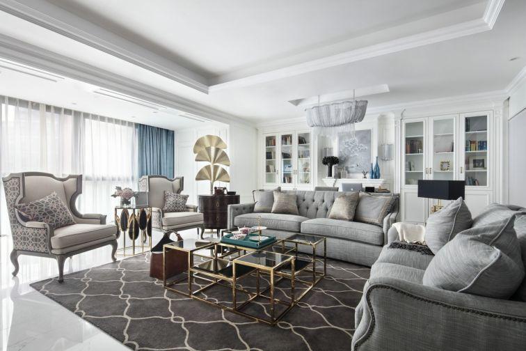 90平现代美式三居室效果图