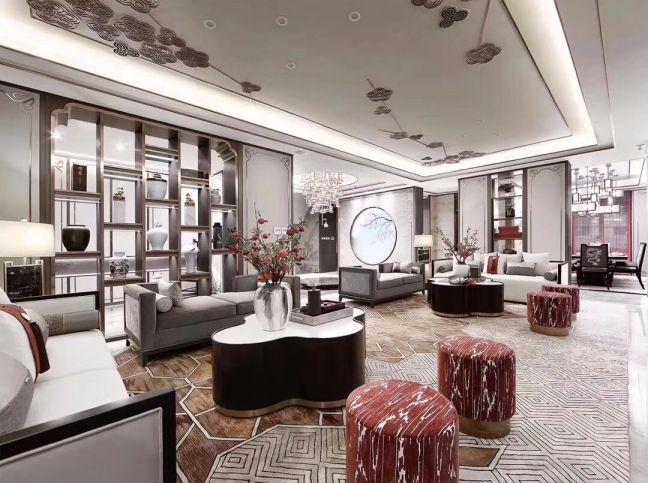 新中式风格170平米别墅室内装修效果图