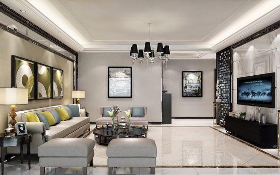 110平现代中式风格三居室装修效果图