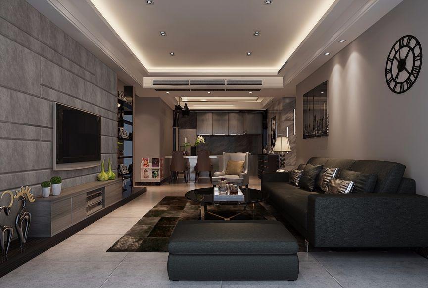 110平现代简约三居室效果图