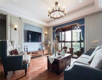 124平美式三居室装修效果图