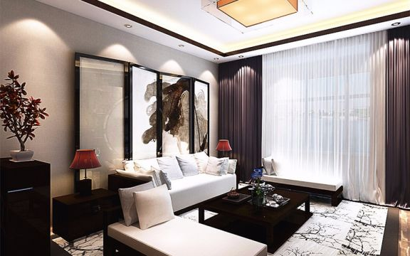 新中式风格128平米三室两厅新房装修效果图