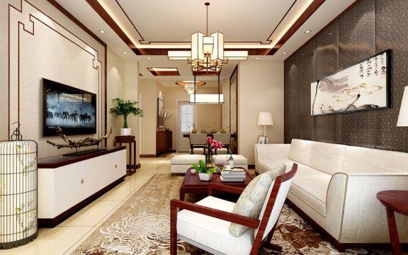 新中式风格80平米两室一厅室内装修效果图