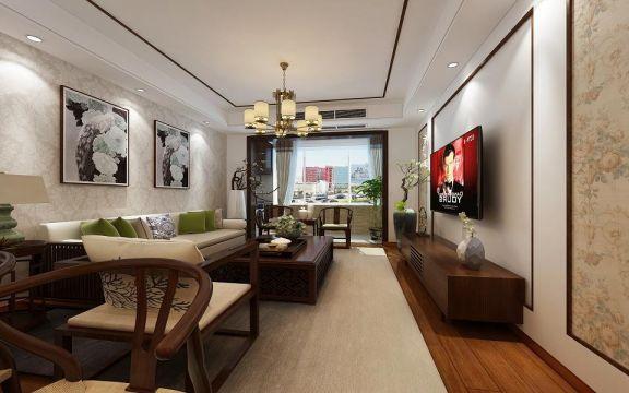 新中式U乐国际110平米三室两厅新房u乐娱乐平台优乐娱乐官网欢迎您