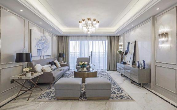 140平法式风格三居室装修效果图