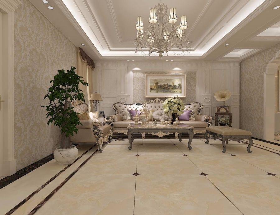 126平方米现代欧式风格三居室装修效果图