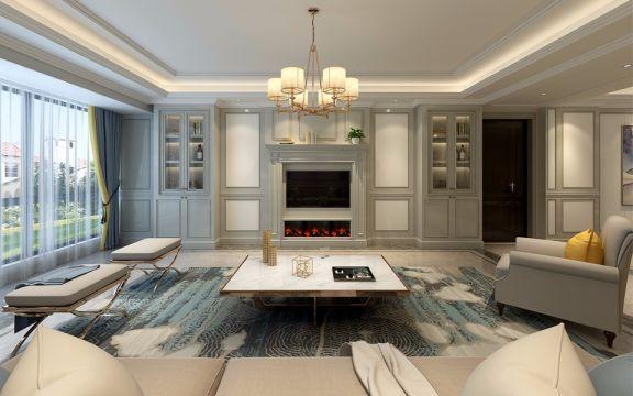 220平米美式风格四居室装修效果图