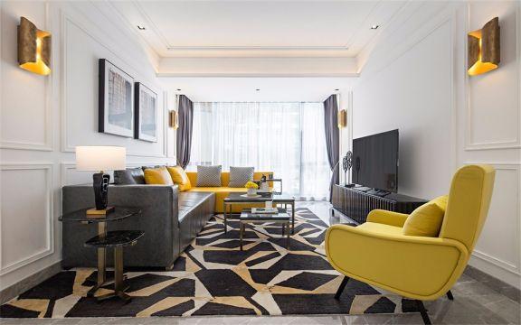 129平法式风格三居室装修效果图