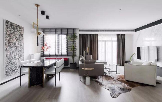 现代简约风格117平米三室两厅新房装修效果图