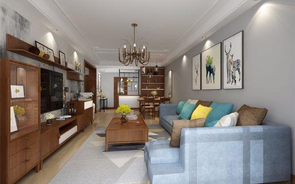 83平中式风格两居室装修效果图