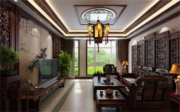 130平中式古典风格四居室装修效果图