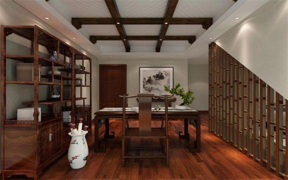 书房咖啡色博古架构造图